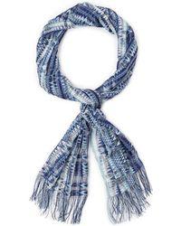 Missoni Blue & White Zigzag Scarf - Lyst