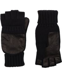 Barneys New York Leather-Palm Fingerless Gloves - Lyst