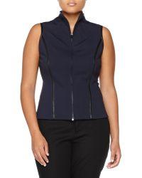 Donna Karan New York Two-Way Zip Leather Trim Vest  - Lyst