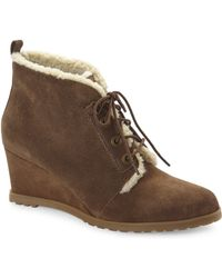 Ellen Tracy - Torino Brown Faux Shearling Wedge Booties - Lyst
