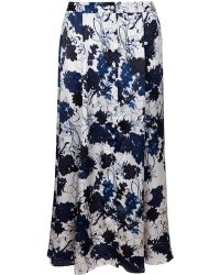 Kelly Love - Flowering Succulent Silk Midi Skirt - Lyst