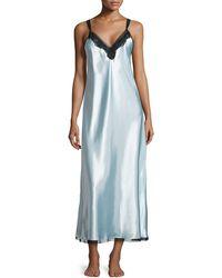 Oscar de la Renta Elegant Lace Long Gown W Chiffon Hem - Lyst