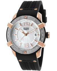 Elini Barokas - Spirit Diamond Black Silicone And Mother Of Pearl Dial - Lyst
