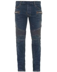 Balmain Biker Skinny-Leg Jeans - Lyst
