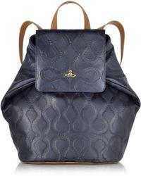 Vivienne Westwood   Squiggle Dark Blue Leather Backpack   Lyst