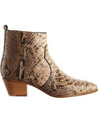 Saint Laurent Python Rock Ankle Boot - Lyst