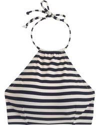 J.Crew Striped Crop Halter Bikini Top blue - Lyst