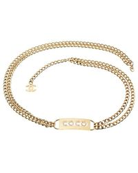 Chanel Pre-Owned Coco Plate Belt gold - Lyst