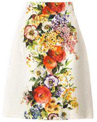 Dolce & Gabbana Floralprint Jacquard Skirt - Lyst