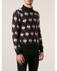Saint Laurent Geometric Print Jumper - Lyst