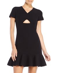 Victoria Beckham Black Triangle Harness Flare Dress - Lyst