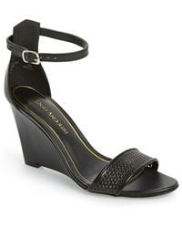 Enzo Angiolini 'Raledy' Chain Perforated Leather Wedge Sandal - Lyst