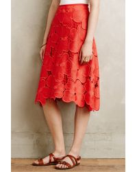 Cynthia rowley Lace Bouquet Skirt in Red | Lyst