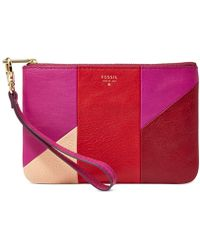 Fossil Sydney Leather Patchwork Small Wristlet Pouch red - Lyst