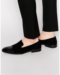 ASOS - Loafers In Black Suede With Leather Toe Cap - Lyst