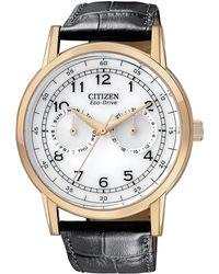 Citizen Mens Black Strap White Dial Watch - Lyst