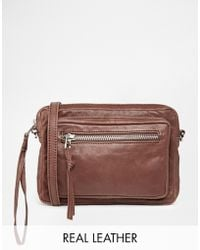 SELECTED - Veri Leather Across Body Bag In Bitter Chocolate - Lyst