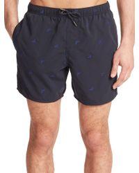 Emporio Armani Eagle Embroidered Swim Shorts blue - Lyst