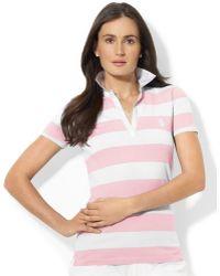Lauren by Ralph Lauren Short-Sleeve Striped Polo Shirt - Lyst