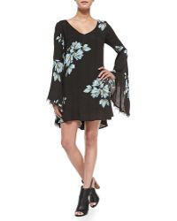 Free People Floral Mini Dress With Bell Sleeves - Lyst