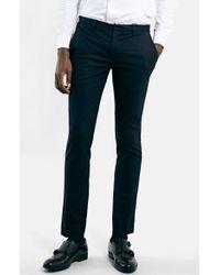 Topman Ultra Skinny Navy Suit Trousers - Lyst
