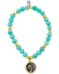 1884 Collection - 1884 - 'amelia' 18k Yellow Gold And 6mm Amazonite Bead Bracelet W/ 1 Small Ottaviano Coin - Lyst