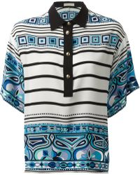 Emilio Pucci Contrast Collar Printed Blouse - Lyst