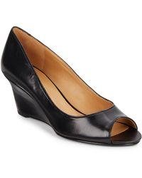 Nine West Peep Toe Leather Wedges - Lyst