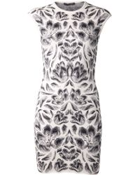 Alexander McQueen White Fitted Dress - Lyst
