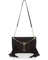 Jimmy Choo - Alexia Black Nappa Leather Shoulder Bag With Gold Studs And Fringes - Lyst