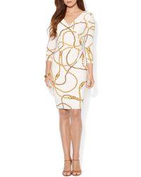Ralph Lauren Lauren Dress  Vneck Chain Print Matte Jersey Sheath - Lyst