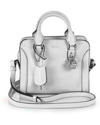 Alexander McQueen Padlock Mini Leather Zip Satchel gray - Lyst