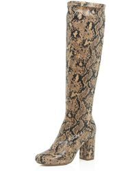 River Island | Beige Snake Print Heeled Knee High Boots | Lyst
