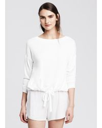 Banana Republic Drawstring Modal Lounge Sweatshirt - Lyst