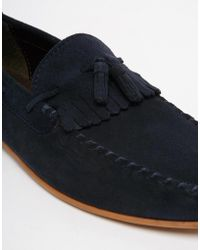 ASOS - Tassel Loafers In Navy Suede With Fringe - Lyst