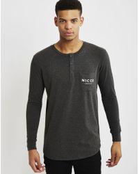 Nicce London | Boucle Henley Pocket Long Sleeve T-shirt Black | Lyst
