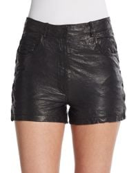 Maje Leather Lace-Up Shorts - Lyst