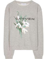 Carven Floral-Detail Cotton Sweatshirt - Lyst