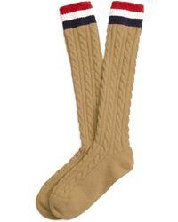 Brooks Brothers Khaki Cable Knit Socks - Lyst