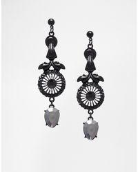 Asos Gothic Gem Drop Earrings - Lyst