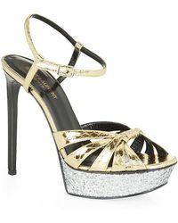 Saint Laurent Bianca Python Glitter Sandal - Lyst