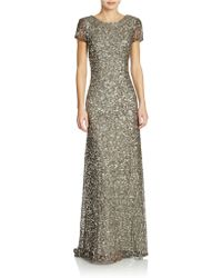 Adrianna Papell Scoop Back Sequined Gown - Lyst