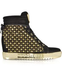 Loriblu - Black Suede Wedge Trainer W/Crystals - Lyst