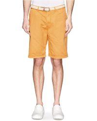 Scotch & Soda Braid Belt Cotton Twill Shorts - Lyst