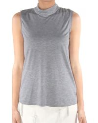 Tibi Gauzy Mock Neck Sleeveless Top gray - Lyst