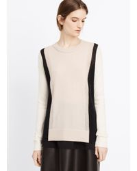 Vince Colorblock Cashmere Crew Neck Sweater - Lyst