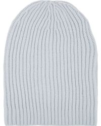 Barneys New York English Rib-Knit Beanie gray - Lyst