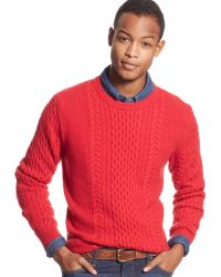 Tommy Hilfiger Aspen Guernsey Cable Knit Sweater - Lyst