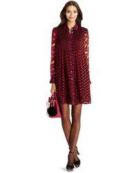 Diane von Furstenberg Dvf Makayla Pleated Burnout Chiffon Shirtdress red - Lyst