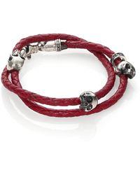 King Baby Studio   Thin-braided Double Wrap Leather Bracelet   Lyst